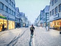 Composing aus Winteruntergrund und Hintergrund